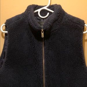 Fuzzy navy J Crew vest size large